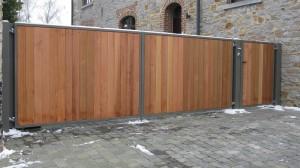 Barrière double battant habillage bois